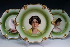 Rosenthal Porcelain Gold Green Transfer Portrait Plate Plates Set of 3