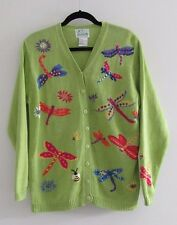 THE QUACKER FACTORY Green Embroidered Dragonflies Button Down Cardigan Sz M