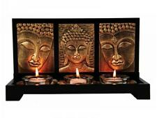 Buddha Triple Candle Holder - Zen Set includes 3 Tealight Holders & Stones