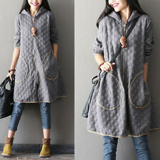 Women Long sleeve Cardigan Coat Hooded Loose Oversized Thicken Cotton Gray XL