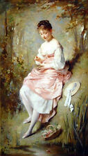 Oil painting Chaplin Nice young girl with The Birds Nest by stream Hand painted