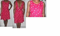 women ladie next red blue bow print skater open back 50s rock dress size 14-16