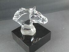 BACCARAT Crystal Chevel Horse Head on Black Base, Double Marked