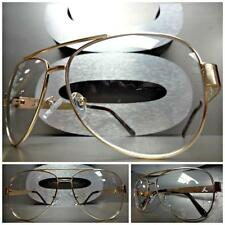 NEW Mens CLASSIC VINTAGE AVIATOR Style Clear Lens EYE GLASSES Gold Fashion Frame