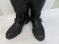 ZARA WOMAN black leather rugged buckle ankle boots with rubber sole sz 39 US 8