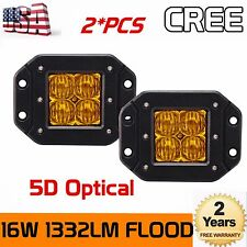 2Pcs 16W CREE LED Work Light Off-road 5D Lens Cube Pods Flood Amber Flush Mount