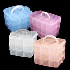 Multi Plastic Empty 3 Layer Storage Case Box Nail Art Craft Makeup Collection
