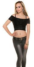 Sexy Top T-Shirt Crop Shirt Carmenausschnitt transparent Schwarz 34 36 38