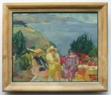 ORIG. CALIFORNIA PLEIN AIR COSTAL LANDSCAPE 3-WOMEN OIL PAINTING SIGNED SHERMAN