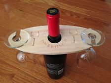 Engraved Wine Bottle and Glass Holder Made From Pine Wood