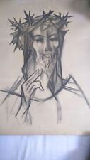 Religious DRAWING signed. dessin religieux signé CHRIST