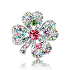 Diamante Silver and Colourful 4 Leaf Clover Bridal Lucky Brooch Pin BR246