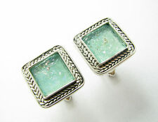 Stunning Ancient Bluish Roman Glass 925 Silver Cufflinks Best Quality