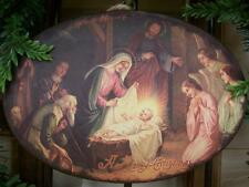 "NWT 9x6"" Post Card Scene MARY JESUS NATIVITY Metal CHRISTMAS Domed Disk Ornament"