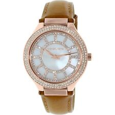Michael Kors MK2421 Women's Kerry Mother of Pearl Dial Brown Leather Watch