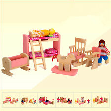 6 Dolls + 6 Set Rooms Wooden Furniture Doll House Family Miniature Kids Children