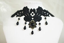 Black Lace Choker Cosplay Victorian Vintage Teardrop Necklace Collar Hair Holder