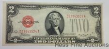 1928D Red Seal UNC Two 2 Dollar Bill Currency Note United States Crisp