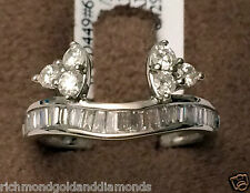 14k White Gold Diamond Station Solitaire Wrap Ring Guard Enhancer Baguette Round