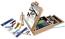 124 PIECE ARTIST SKETCHING DRAWING EASEL BOX SET PENCIL PAD MANIKIN CHARCOAL 625