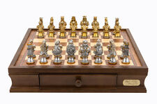 "Dal Rossi Italy chess box with drawers 16"" With Medieval Warriors Resin 75mm Che"