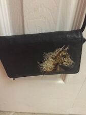 "Crossbody Black Faux Leather Purse W/ Horse Embroidery 6""x 4 1/2"" ��������"