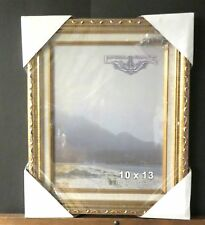 10 x 13 Gold Wood Hanging Frame with linen liner and glass