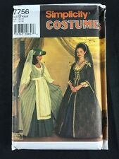 Simplicity 7756 Medieval Renaissance Gown Sewing Pattern Adult 4 6 8