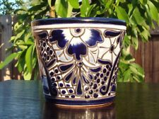"Authentic Fine TALAVERA 5"" SMALL Flower Planter Pot Mexico Ceramic Blue Designs"