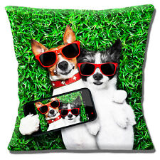 "NEW CUTE COUPLE JACK RUSSELL SMOOTH ROUGH COAT 'SELFIE' 16"" Pillow Cushion Cover"