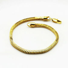 Luxury 3 mm width 18 k Gold Plated Unisex Bracelet for Men Women Jewellery BB108