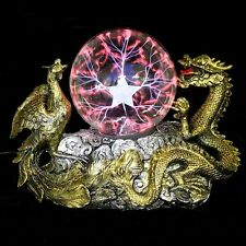 Gold Dragon Phoenix Base Plasma Ball Magic Lighting Sphere Tesla Lamp