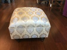 Small Ottoman Pouf Low Seat Chair Classic Satin Upholstery Beige & Silver 20""