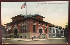 AB019 Post Office Public Library Galesburg Illinois IL  Vintage  PC