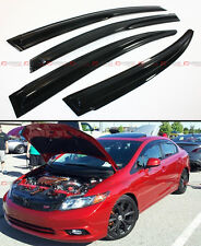 MUGEN STYLE SMOKED WINDOW VISOR RAIN/SUN SHADE FOR 2012-15 HONDA CIVIC 4 DOOR