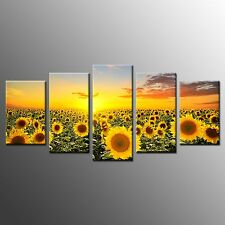 Photo To Canvas Wall Art Sunflower Photo Picture For Home Decor-5pcs