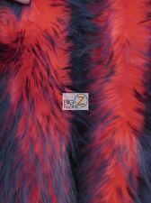 FROZEN SHAG FAUX FAKE FUR LONG PILE FABRIC - Red/Black Spikes - BY YARD COSTUME