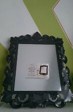 Black Ornate Rectangular Vintage Baroque Mirror NEW 50cm WALL OR FREE STANDING