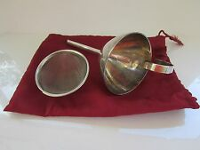 Silver plate  Wine Funnel with Stainless Steel Filter  & Storage Bag
