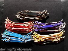 #BRT LOT OF 5 TWISTED LEATHER  BRACELET BLANKS W/SNAP CHOICE OF COLOR