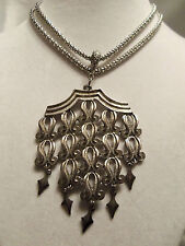 FUNKY COOL Vintage LARGE Silver ORNATE Chain UNUSUAL Pendant Necklace 13EN152