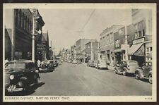 Postcard MARTINS FERRY Ohio/OH Commercial Area Business Storefronts view 1930's