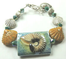 Seascape Shell Porcelain Bracelet with Lampwork Shells and Charm Shells