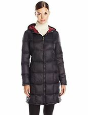 $220 Tommy Hilfiger Women's Quilted Hooded Packable Down Puffer Coat S Black 3/4