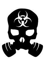 High Detail Biohazard Gasmask Skull Airbrush Stencil - Free UK Postage