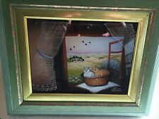 Rare STJEPAN DUKIN Reverse Painting On Glass-Cats in A Basket-Molve, Croatia