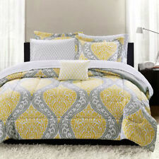 Yellow Gray White Geometric Damask 8 piece Full Size Comforter Bedding Set