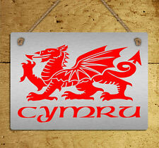 metal hanging sign Wales Dragon Cymru Welsh flag metallic wall door plaque gift