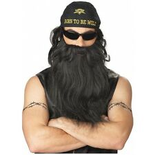 Biker Costume Beard & Moustache Mens Long Black Wavy Blackbeard Pirate Dwarf