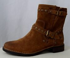 UGG Fabriza Chestnut Suede Leather Studded Ankle Boots  1003235 Size 7.5 US